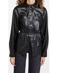 Nanushka Thalita Faux Leather Shirt - Black