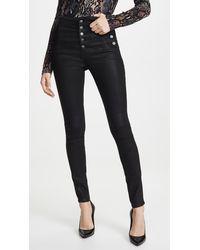 J Brand Natasha Sky High Coated Skinny Jeans - Black