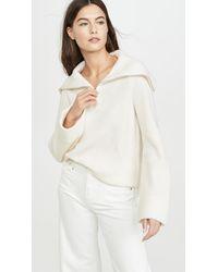 TSE Cashmere Zip Front Sweater - White