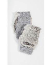 Adrienne Landau Rabbit Fur Fingerless Gloves - Gray