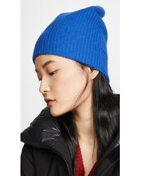 White + Warren Plush Rib Cashmere Beanie - Blue