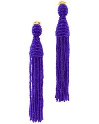 Oscar de la Renta - Long Beaded Tassel Clip On Earrings - Lyst