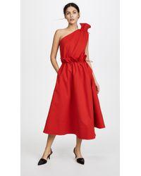 Goen.J - One-shoulder Cotton-poplin Midi Dress - Lyst