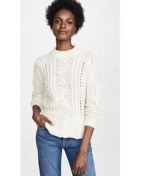 Scotch & Soda Chunky Cable Peplum Sweater - White