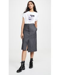 Cedric Charlier Gray Pinstripe Skirt