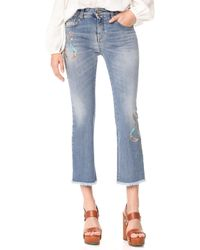 Roberto Cavalli Cropped Embroidered Jeans - Blue