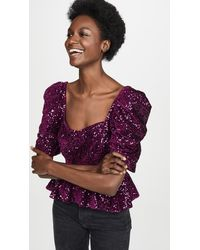 Amanda Uprichard Natasha Sequin Top - Purple