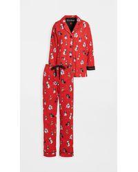 Pj Salvage Kick Back Relax Flannel Pyjama Set - Red