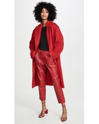 Vince Double Breasted Alpaca Long Coat - Red