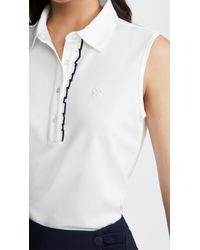 Tory Sport Tech Pique Sleeveless Ruffle Polo - White