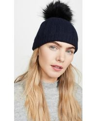 White + Warren Wide Rib Cashmere Beanie With Pom Pom - Blue