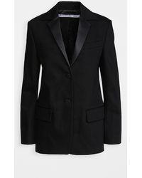 Alexander Wang Boxy Single Breasted Tuxedo Blazer - Black