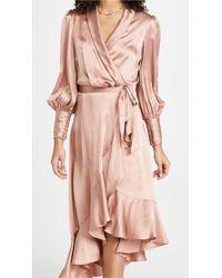 Zimmermann Silk Wrap Midi Dress - Pink