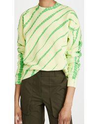 PROENZA SCHOULER WHITE LABEL Modified Raglan Tie Dye Sweatshirt - Green
