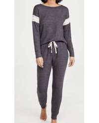 Flora Nikrooz Brushed Knit Long Sleeve Pj Set - Grey