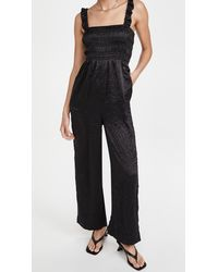 Ganni Crinkled Satin Jumpsuit - Black