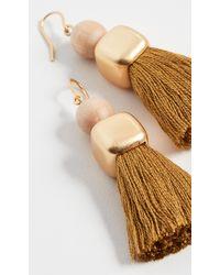Madewell Wood Bead And Tassel Earrings - Metallic