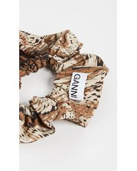 Ganni Printed Cotton Poplin Scrunchie - Brown