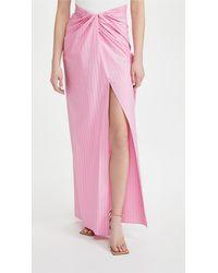 Brandon Maxwell Pinstripe Wrap Skirt With High Slit - Pink
