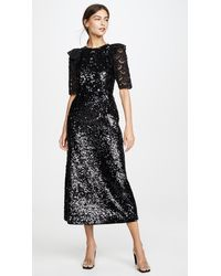 Sea Sequined Short Sleeve Dress - Black