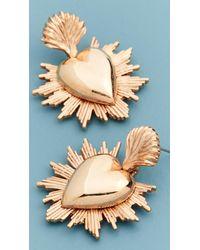 Oscar de la Renta Sacred Heart Earrings - Metallic