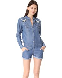 The Kooples Bird Embroidered Romper - Blue