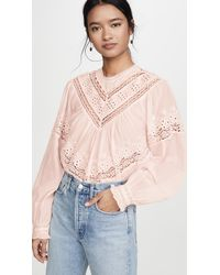 Free People Abigail Victorian Top - Pink