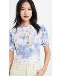 Endless Rose Twist Puff Sleeve T-shirt - Blue