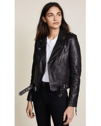 BLK DNM Cropped Leather Motorcycle Jacket  - Black
