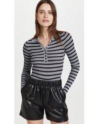 Philosophy Di Lorenzo Serafini Viscose Wool Blend Striped Bodysuit - Black