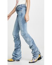R13 Shirring Boy Boot Jeans - Blue