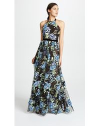 Marchesa notte - Halter Embroidered Tulle Gown With 3d Embroidery - Lyst