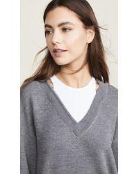 T By Alexander Wang Bi-layer V Neck Sweater - Gray