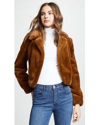 Blank NYC Cropped Faux Fur Jacket - Brown