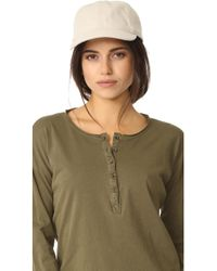 Madewell - Linen Baseball Hat With Leather Trim - Lyst