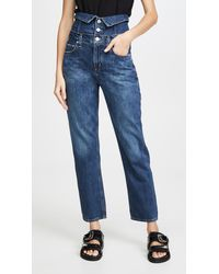 Agolde Vanna Corset Belted Fold Over Jeans - Blue