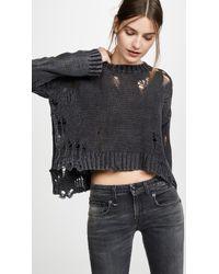 R13 Shredded Side Slit Sweater - Black