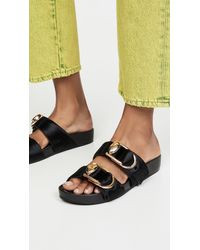 Stella Luna Double Ring Slide Sandals - Black