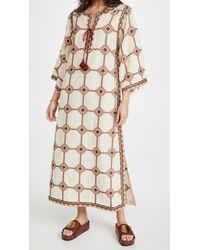 Tory Burch Embroidered Caftan - Natural