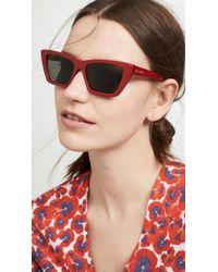 Saint Laurent Narrow Cat Eye Sunglasses - Red