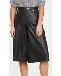Rag & Bone Super High Rise Leather Culottes - Black