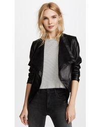 BB Dakota Peppin Vegan Leather Drapey Jacket - Black