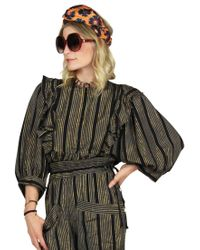 Apiece Apart - Stripe Ruffle Flared Blouse - Lyst