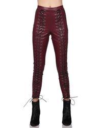 Line & Dot Juniper Lace Up LEGGINGS - Red
