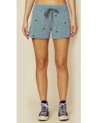 Sundry Cutoff Shorts With Palm Trees - Blue
