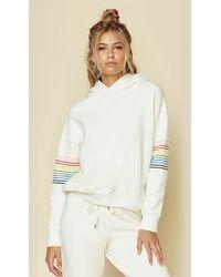 Sundry Rainbow Stripe Hoodie - White