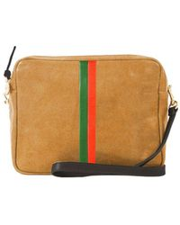 Clare V. Marisol Suede With Desert Inlay Stripes - Natural