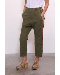 Nili Lotan - Luna Pant In Green W/ Orange/navy Tape - Lyst