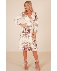 4704438f3fd5 Showpo Hold On Tight Dress In Navy Print in Blue - Lyst