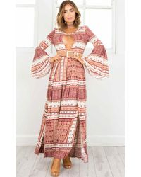Showpo - More Or Less Maxi Dress In Red Print - Lyst